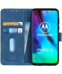 Motorola Moto G Pro Book Case Hoesje Portemonnee Retro Blauw