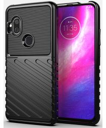 Motorola One Hyper Hoesje Twill Thunder Texture Back Cover Zwart