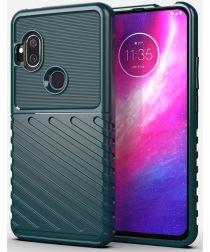 Motorola One Hyper Hoesje Twill Thunder Texture Back Cover Groen