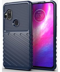 Motorola One Hyper Hoesje Twill Thunder Texture Back Cover Blauw