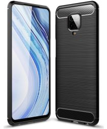 Xiaomi Redmi Note 9S / Note 9 Pro Geborsteld TPU Hoesje Zwart