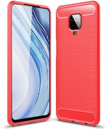Xiaomi Redmi Note 9S / Note 9 Pro Geborsteld TPU Hoesje Rood