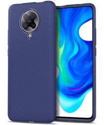 Xiaomi Poco F2 Pro Hoesje Twill Slim Texture Back Cover Blauw