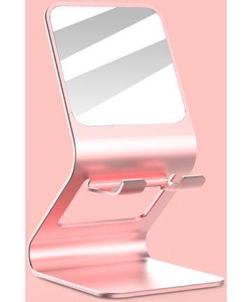 Universele Multifunctionele Smartphone Stand Met Spiegel Roze Goud Houders