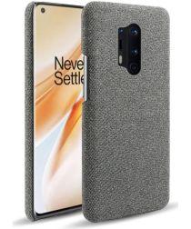 OnePlus 8 Pro Stof Hard Back Cover Donker Grijs