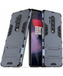 OnePlus 8 Pro Hoesje Shock Proof Back Cover Met Kickstand Blauw