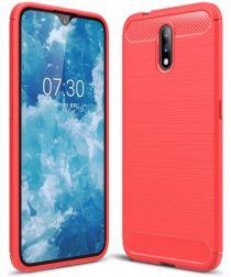 Nokia 2.3 Geborsteld TPU Hoesje Rood