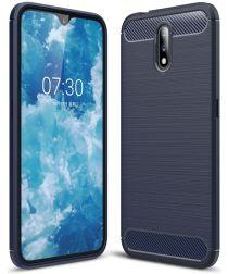 Nokia 2.3 Geborsteld TPU Hoesje Blauw