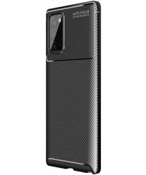 Samsung Galaxy Note 20 Hoesje Siliconen Carbon Back Cover Zwart