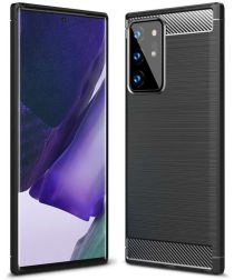 Samsung Galaxy Note 20 Ultra Hoesje Geborsteld TPU Flexibel Zwart