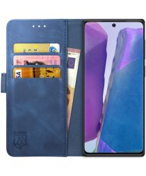 Rosso Element Galaxy Note 20 Hoesje Book Cover Wallet Case Blauw