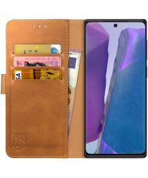 Rosso Element Samsung Galaxy Note 20 Hoesje Book Cover Lichtbruin