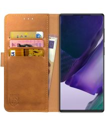 Rosso Element Galaxy Note 20 Ultra Hoesje Book Cover Wallet Lichtbruin