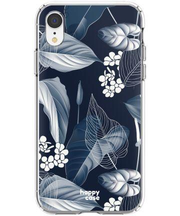 HappyCase Apple iPhone XR Hoesje Flexibel TPU Blue Leaves Print Hoesjes