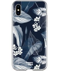 HappyCase Apple iPhone XS Flexibel TPU Hoesje Blue Leaves Print