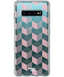 HappyCase Galaxy S10 Flexibel TPU Hoesje Blokjes Print
