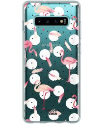 HappyCase Galaxy S10 Flexibel TPU Hoesje Flamingo Print