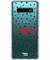 HappyCase Galaxy S10 Flexibel TPU Hoesje Stip Hartjes Print