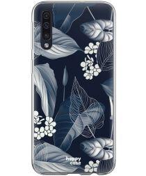 HappyCase Samsung Galaxy A70 Flexibel TPU Hoesje Blue Leaves Print