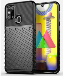 Samsung Galaxy M31 Twill Thunder Texture Back Cover Zwart