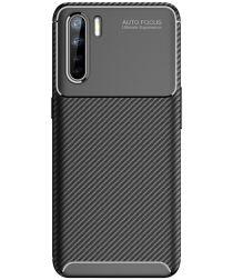 Oppo A91 Hoesje Geborsteld Carbon Zwart