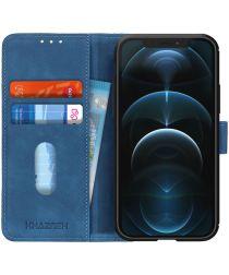 KHAZNEH Apple iPhone 12 Pro Max Hoesje Retro Wallet Book Case Blauw