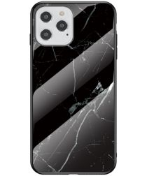 Apple iPhone 12 Max / 12 Pro Hoesje Marmer Glass Print Zwart