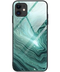 Apple iPhone 12 Max / 12 Pro Hoesje Marmer Glass Print Groen