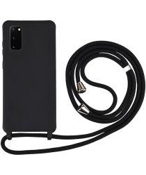 Samsung Galaxy S20 Hoesje Back Cover Flexibel TPU met Koord Zwart