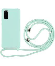 Samsung Galaxy S20 Hoesje Back Cover Flexibel TPU met Koord Mint Groen