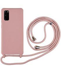 Samsung Galaxy S20 Hoesje Back Cover Flexibel TPU met Koord Roze
