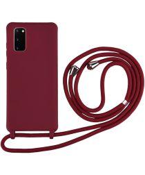 Samsung Galaxy S20 Hoesje Back Cover Flexibel TPU met Koord Rood