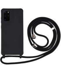 Samsung Galaxy S20 Plus Hoesje Back Cover Flexibel TPU met Koord Zwart