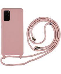 Samsung Galaxy S20 Plus Hoesje Back Cover Flexibel TPU met Koord Roze
