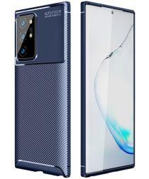 Samsung Galaxy Note 20 Ultra Hoesje Siliconen Carbon Blauw