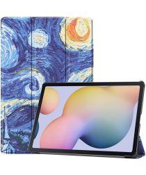 Samsung Galaxy Tab S7 Plus Hoesje Tri-Fold Print Blauw