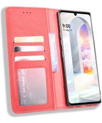 LG Velvet Book Case Hoesje Book Case Retro Wallet Rood