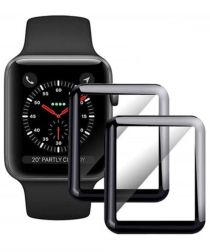 Apple Watch 42MM Screenprotector 3D Curved Edges Glass Zwart (2-Pack)