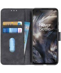 OnePlus Nord Vintage Wallet Hoesje met Magneetsluiting Zwart