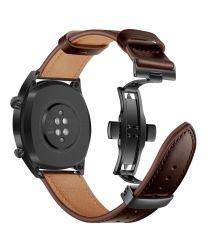 Universeel Smartwatch 20MM Bandje Echt Leer met Vlindersluiting Bruin