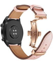 Universeel Smartwatch 20MM Bandje Echt Leer met Vlindersluiting Roze