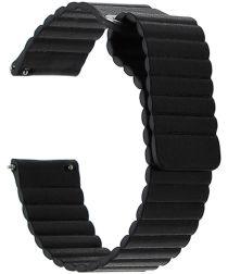 Universeel Smartwatch 22MM Bandje Echt Leer met Magneetsluiting Zwart