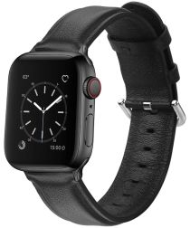 Apple Watch 40MM / 38MM Bandje Echt Leer met Gespsluiting Zwart