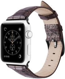 Dux Ducis Crocodile Apple Watch 44MM / 42MM Bandje Echt Leer Bruin