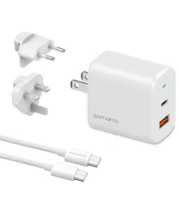 4Smarts 18W Reislader Set Met Snellaadfunctie Met USB-C Kabel Wit Opladers