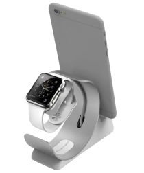 Universele Aluminium iPhone / iPad en Apple Watch Bureau Houder Zilver