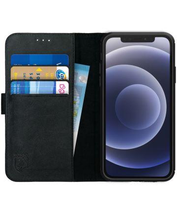 Rosso Deluxe Apple iPhone 12 / 12 Pro Hoesje Echt Leer Book Case Zwart Hoesjes