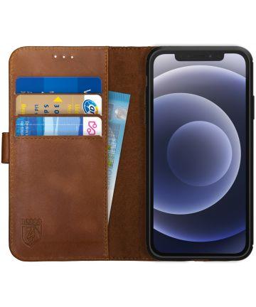 Rosso Deluxe Apple iPhone 12 / 12 Pro Hoesje Echt Leer Book Case Bruin Hoesjes