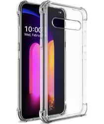 IMAK LG V60 ThinQ Hoesje Flexibel TPU met Screenprotector Transparant