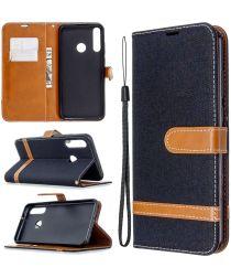 Huawei Y6p Jeans Portemonnee Hoesje Zwart
